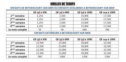 grille tarif